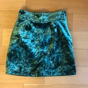 Sandro Emerald Crushed Velvet mini skirt w/ zipper